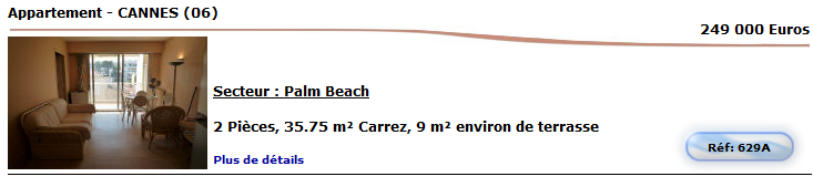 2 pièces secteur palm beach Terrasse